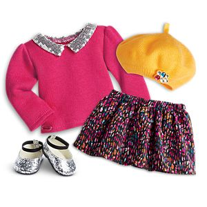 Sequin Collar Sweater & Downtown Skirt Outfit for 18-inch Dolls